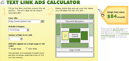 text link ads calculator