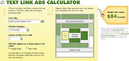 text link ads calculator